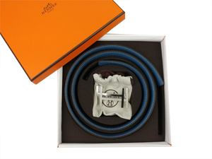 BRAND NEW Hermes White Blue Reversible Belt Kit w/ Silver Buckle