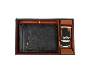 BRAND NEW Coach Black Oxblood 3-in-1 Money Clip Card Case Gift Set F41344
