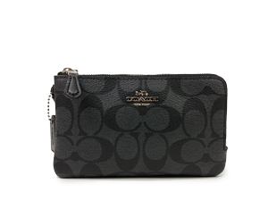 BRAND NEW Coach Black Smoke PVC Double Corner Zip Small Wristlet F87591