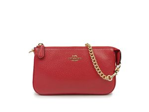 BRAND NEW Coach True Red Pebble Leather Large Wristlet F30258