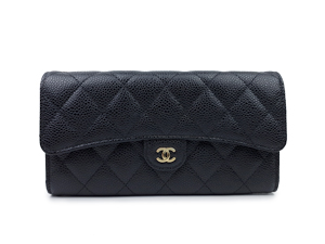 SOLD OUT Chanel Black Caviar Classic Flap Long Wallet