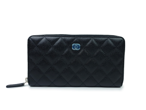 BRAND NEW Chanel Black Caviar Zip Around Wallet
