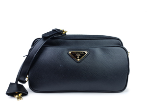 Prada Black Saffiano Double Zip Crossbody Bag