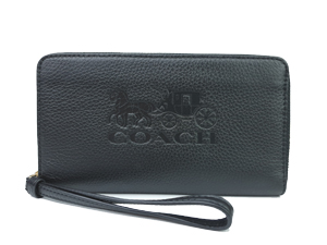 SOLD OUT BRAND NEW Coach Pebble Leather Large Zip Around Phone Wallet F75908
