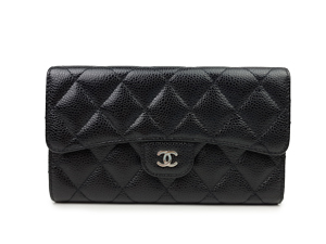 Chanel Black Caviar Trifold Long Wallet