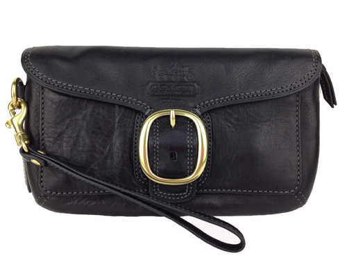 Coach Bleecker Leather Capacity Wristlet (black)