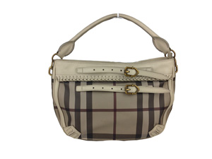 Burberry Grey smoked Small Belted Check Crossbody Bag