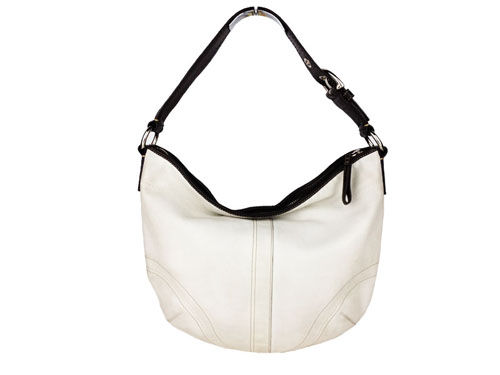 Coach White Leather Shoulder Bag /Scarf