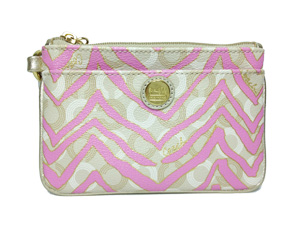 BRAND NEW Coach Pink Waverly Coadted Canvas Wristlet