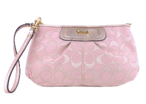 BRAND NEW Coach Pink Signature Large Wristlet