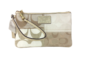 BRAND NEW Coach Khaki Pathcwork Medium Wristlet