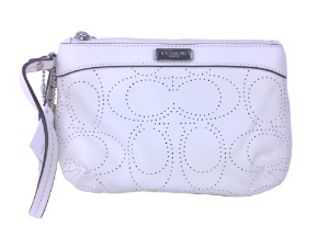 BRAND NEW Coach White  Perforated Leather Wristlet