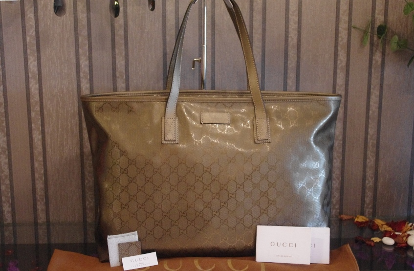 Sold Out Gucci Medium Tote Champagne color GG imprimé with  leather trim