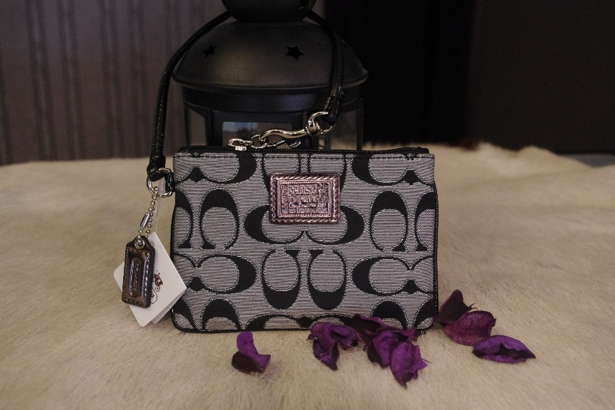 SOLD OUT Brand New Coach Poppy Metallic Signature Wristlet -Silver/Moonlight