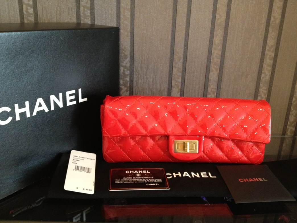 BRAND NEW Chanel Red Patent Leather Flap Bag Purse Clutch Gold